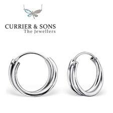 925 Sterling Silver 12mm Twist Design Hoop Sleeper Earrings (Pair)