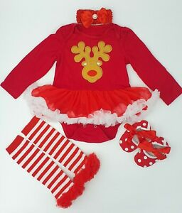 Baby Girls Christmas Dress Outfit Red Tutu Romper Xmas Romper Shoes Headband Set