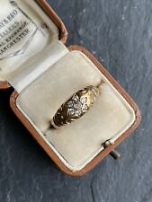 Antique Diamond Yellow Gold Daisy Cluster Gypsy Style Ring Band
