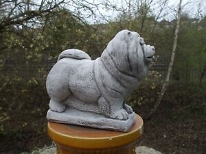 LARGE STANDING CHOW CHOW STONE SCULPTURE STATUE