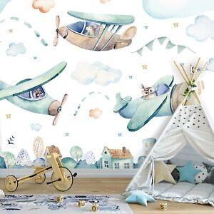 Vlies Fototapete Kinderzimmer Flugzeuge Wolken Tapete Weiß XXL Junge 52