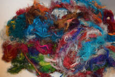 3 oz Recycled Sari Silk Waste Fiber for felting spinning needle felting Weaving