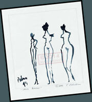 Sans Amour 3 graces lady nude = Signed ART PRINT = Cathy Peterson DRAWING