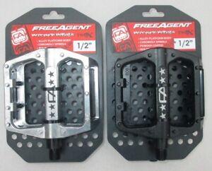 Pedals Freeagent FA Free Agent BMX Alloy Platform Body Molded Pins-Chromoly 1/2
