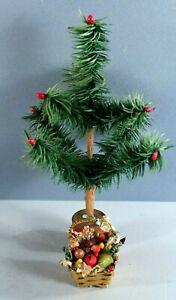 Old German Christmas Ornament Miniature Brass Basket w Fruit Feather Tree