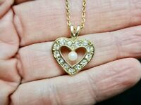 Vintage-Valentine's Day-Heart & Faux Pearl Rhinestone Pendant/Necklace