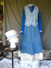 Victorian Dress Edwardian Civil War Walking Suit Re-enactment Costume Blue  L/XL