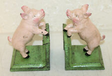 ANTIQUE STYLE PINK COUNTRY PIG CAST IRON BOOKENDS BOOK ENDS FARMHOUSE DECOR