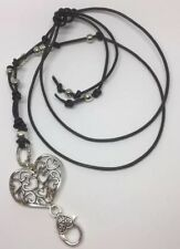 Leather Beaded Lanyard Necklace, Id Pass Holder, Handmade Beaded Gift