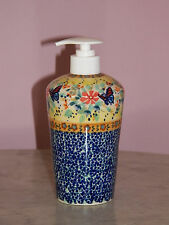 Genuine UNIKAT Polish Pottery Lotion/Soap Dispenser!  Butterfly Summer Pattern!