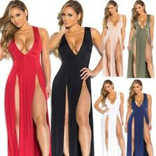 Womens High Split V-neck Bodycon Bandage Clubwear Summer Party Maxi Long Dress J