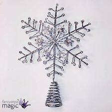 Gisela Graham Purpurina Plateada Copo De Nieve Árbol Navidad Decoración Estrella
