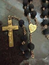 Vintage Catholic Black Pumice Rosary