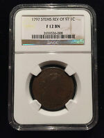 1797 Draped Bust Large Cent NGC F12 BN Penny Flowing Hair