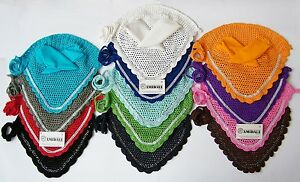 EAR NET FLY VEIL CROCHET 13 COLORS WITH CRYSTALS HORSE RIDING FULL/PONY/COB