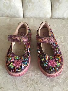 Lelli Kelly Toddler Girls Shoes Beaded Floral Purple/Pink EUR 25 US 8