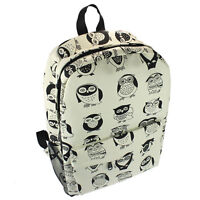 Cute Women's Vintage Canvas Satchel Backpack Rucksack Shoulder School Bag Owl