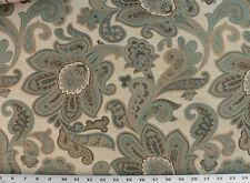 Cortinas Tela para Tapizar Rústico Jacquard Floral - Verde Azulado Marrón Marrón