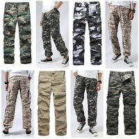 Mens Combat Military Paratrooper Pants Outdoor Work Camp Hunt Camo Cargo Pants