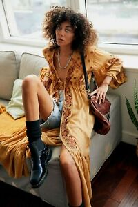 NWT Free People Gold Combo Embroidered Kimono Duster Open Front Jacket XS~S