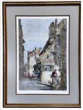 Large Antique Paul Geissler Hand Colored Etching
