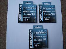 Kamasan B911 X-Strong Barbless eyed bait banded hooks to nylon