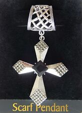 NWT WOMEN'S SILVER 3-D CROSS SCARF RING WITH BLACK FACETED CENTER RHINESTONE