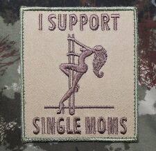 I SUPPORT SINGLE MOMS ARMY MILITARY BADGE MULTICAM VELCRO® BRAND FASTENER PATCH