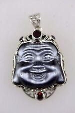 Laughing Buddha Cristallo Argento Set Con Granati Rosso