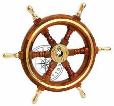 Wall Decorative Brass Handle Wooden Ship Wheel Nautical Pirate Boat Steering