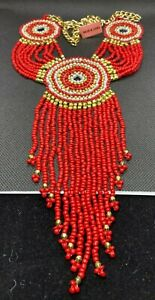 Southwest Red Glass Beaded Rosettes Necklace & Earrings Hypoallergenic Free Gift