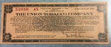 Union Tobacco Company Stock Warrant Central Bank Note Circa 1929