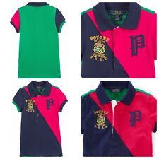 Ralph Lauren Girls Polo Shirt Color Blocked Size 6X NWT Summer Spring Pink Blue