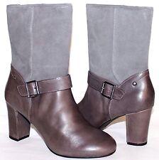 """✿HUSH PUPPIES Waterproof Gray Premium Leather 3"""" Heel Zip Boots 10 W NEW! L@@K!"""