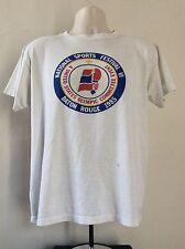 Vtg 1985 Adidas Trefoil National Sports Festival T-Shirt White L 80s Soft 50/50