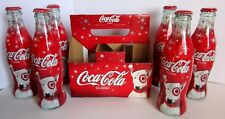 Coca Cola Christmas Target Bullseye Dog Santa 2004 Bottle 8 oz 6 Pack Empty