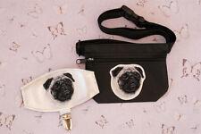 Pug dog show set - dog treat bag and arm band ring number holder. Dog lover gift