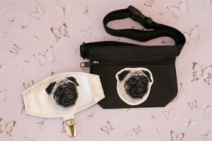 Pug dog show set - dog treat bag and arm band ring number holder. Dog lover gift