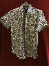 mens White And Blue short sleeve button down shirt large Tranquility And Mayhem