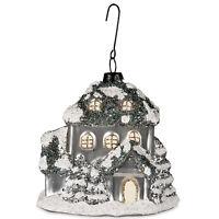 "3.5"" Bethany Lowe Silver Blue Glass Cottage Christmas Ornament Retro Vntg Decor"