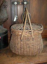 antique market basket double handle lidded nice patina
