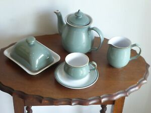 Denby Regency Green Tableware, Teapot, Cups & Saucers, Milk Jug, Butter Dish.