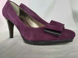 Anne Klein women's shoes UK6 purple suede with patent heal and bow detail
