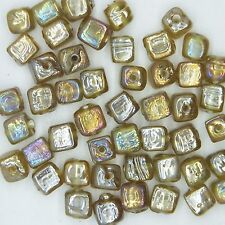 Glass Beads Amber Luster Square Cube 6mm. Pack of 50. Made in India.