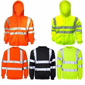 Hi Viz High Visibility Hoddie Polo Shirt Reflective Tape Safety Work Hi Vis Top
