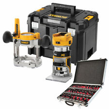 """DeWalt DCW604NT 18V Brushless Router Trimmer with 1/4"""" 35 Piece Cutter Set"""
