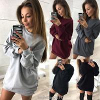 Damen Mode Langarm Minikleid Sweatshirt Sweater Kleid Freizeit Hoodie Pullover