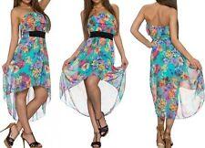 Sexy Miss Ladies Mullet Chiffon Mini Dress Bandeau Flounce Flowers SX S New
