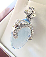 OUTSTANDING  RUSSIAN PENDANT MADE OF SOLID STERLING SILVER 925 BLUE TOPAZ