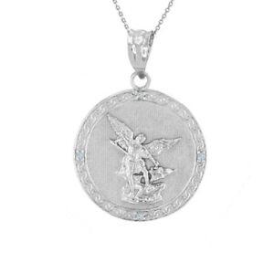 "White Gold Saint Michael Double Sided Engrave Prayer Diamond 1"" Pendant Necklace"